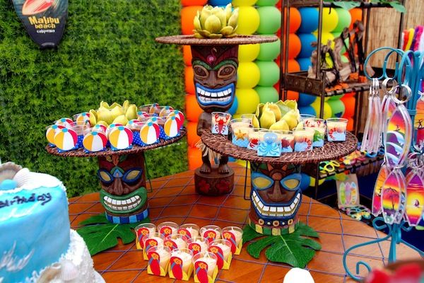 Pool Party Themes And Ideas summer pool party theme ideas Tiki Luau Beach Surfswim Pool Party Decoration Cupcakes Pool Party Themes And Ideas