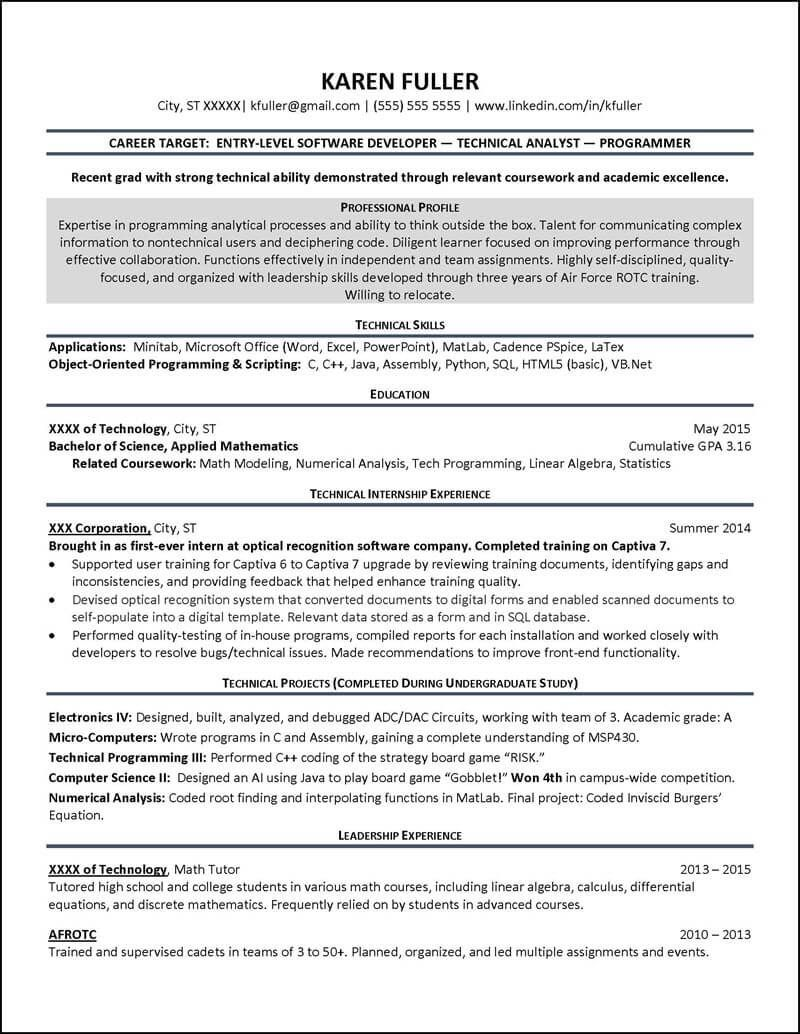 Student Resume Examples 2