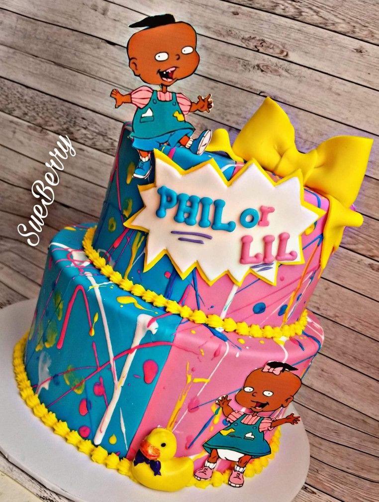 Gender Reveal Rugrat Theme Custom Cake Gender Reveal Party Theme Baby Gender Reveal Party Decorations Gender Reveal Baby Shower Invitations