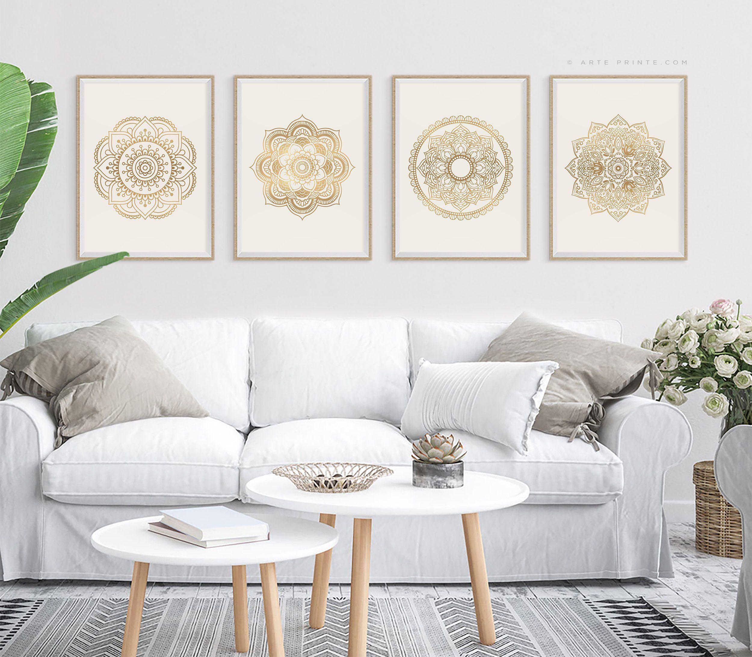 large wall art set of 4 mandala art printable wall art on large wall art id=12617