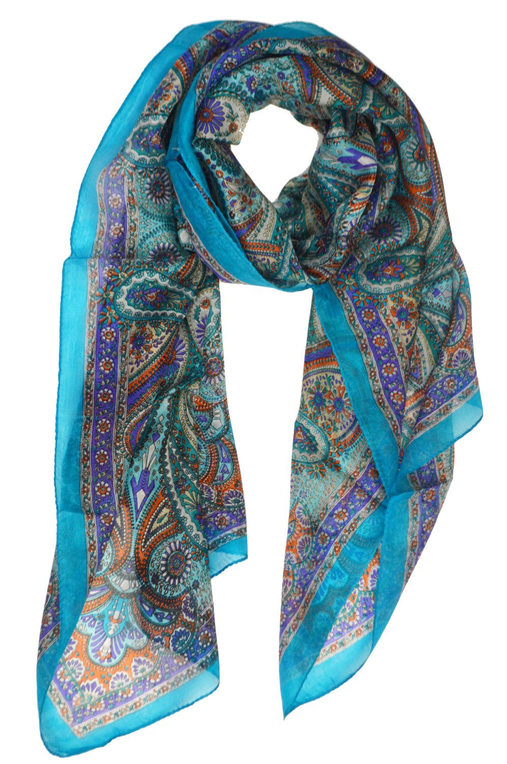 "INDIAN 100/%PURE SILK HANDMADE BLACK PAISLEY /& FLORAL DESIGN SCARF 6/"" x 40/"" £5.95"