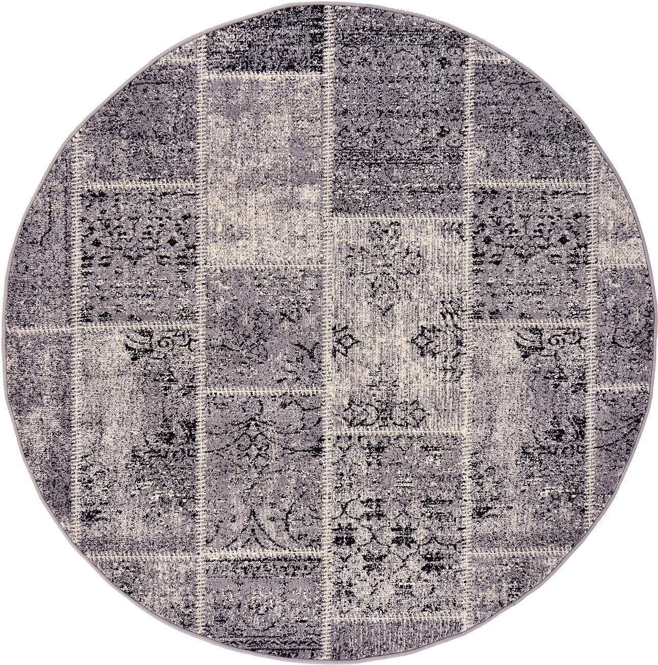 Gray 6' x 6' Patchwork Round Rug | Area Rugs | eSaleRugs
