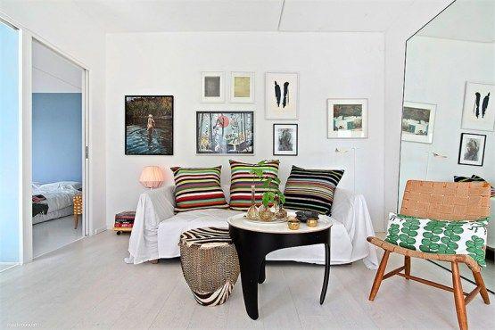 Luz natural, blanco y colores alegres Decoracion pisos pequeños