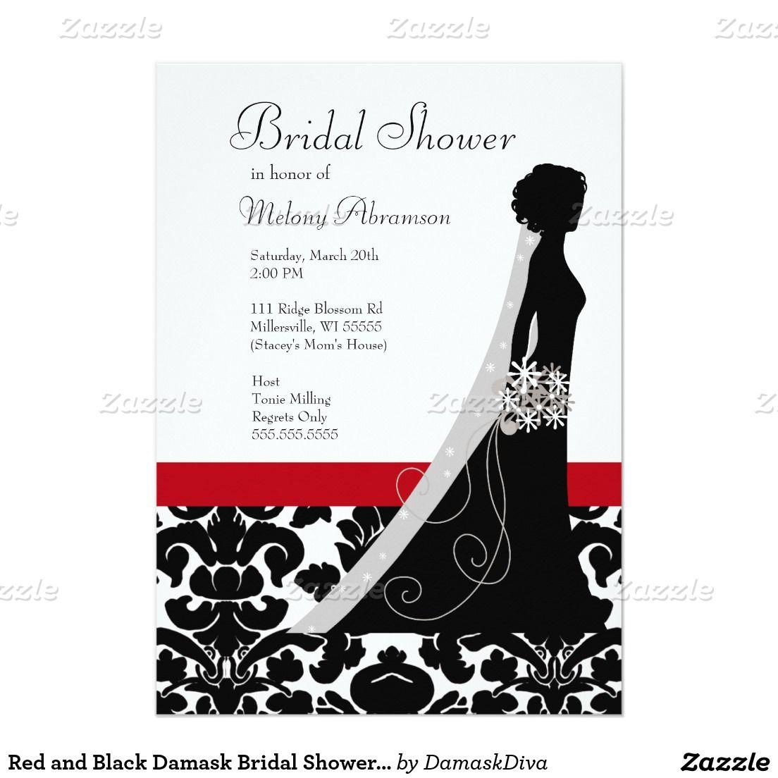 Red and Black Damask Bridal Shower Invitations | Bridal showers ...