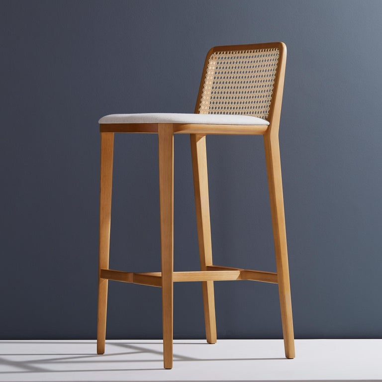 Minimal Style Solid Wood Stool Textiles Or Leather Seatings Caning Backboard In 2020 Wood Stool Stool Solid Wood Chairs