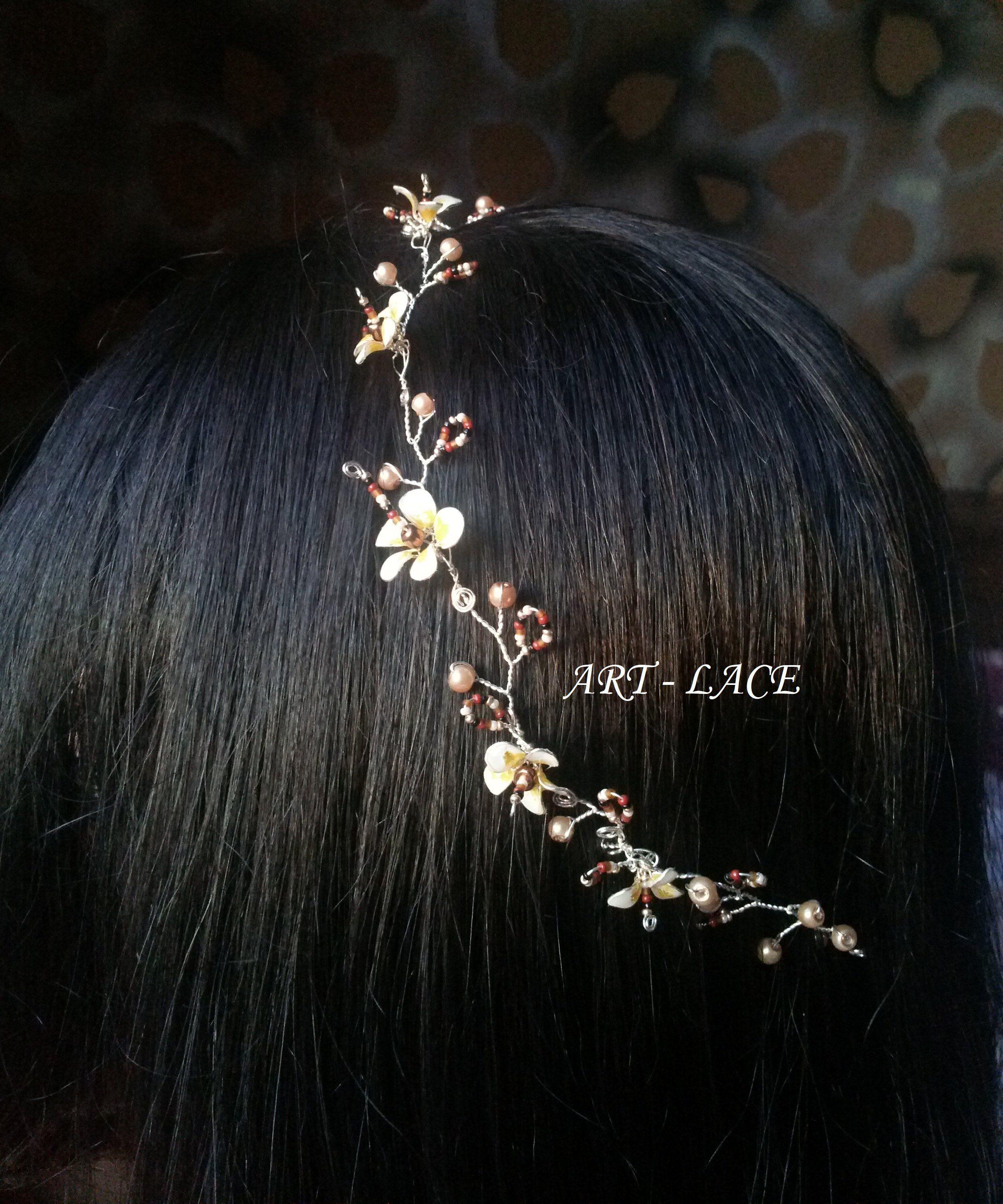 Hawaiian Wedding Hairstyles: Frangipani Bridal Hair Wrap Plumeria Ivory Brown Wedding