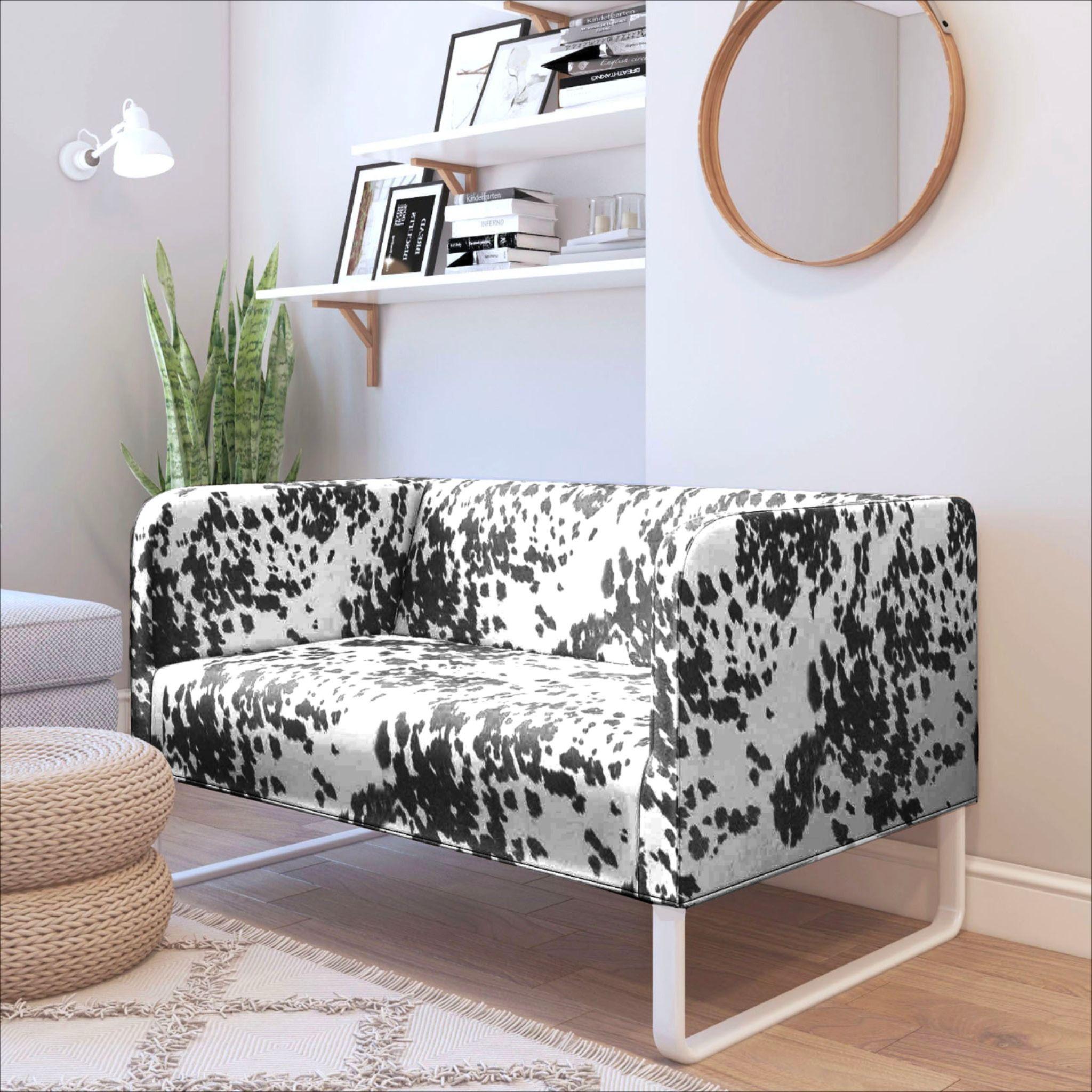 Faux cow print ikea knopparp sofa cover black living