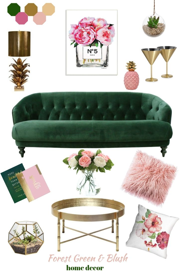 Blush & Forest Green room decor images