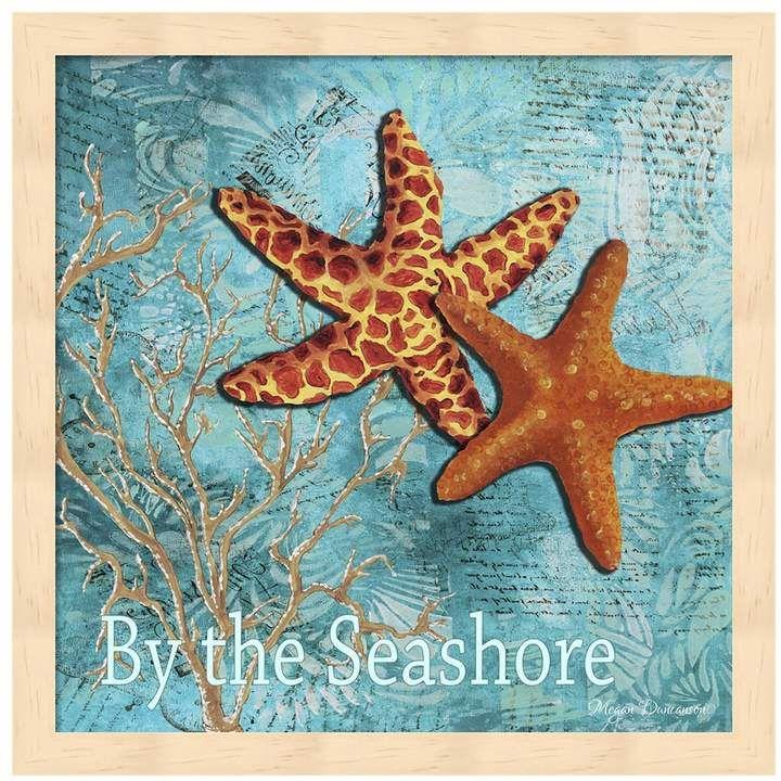Metaverse Art By The Sea Shore Framed Wall Art Starfish Art Starfish Painting Coastal Painting