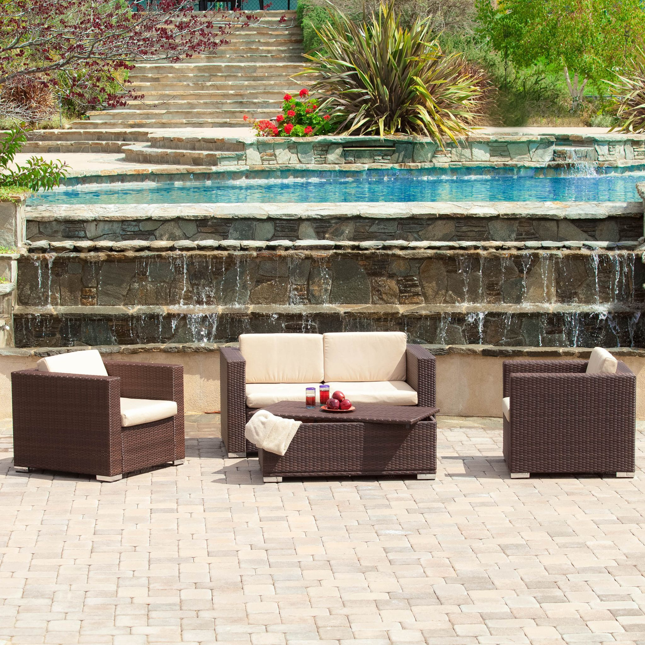 Denise Austin Home Montague Outdoor 4 Piece Brown Wicker Sofa SetDenise Austin Home Montague Outdoor 4 Piece Brown Wicker Sofa Set  . Outdoor Dining Sets Austin. Home Design Ideas