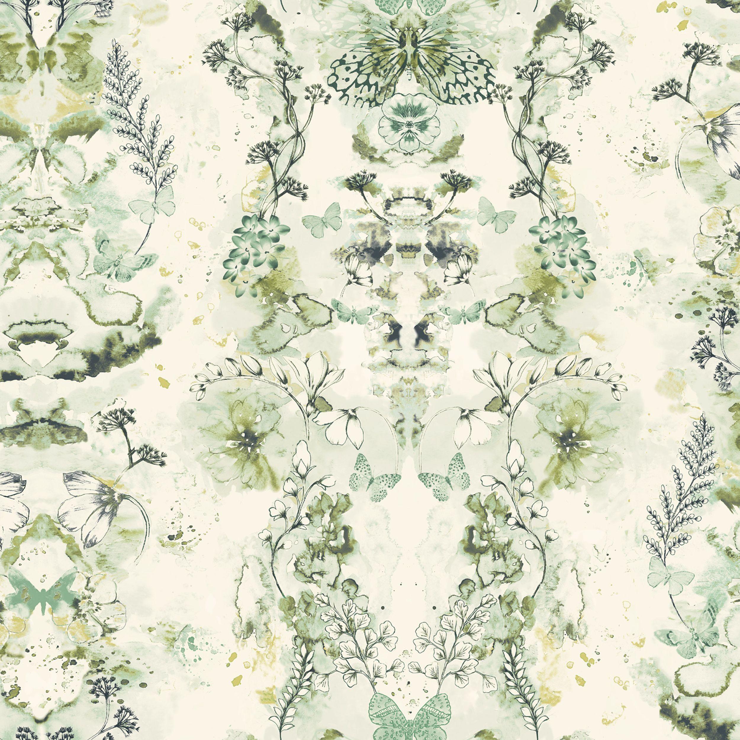 Penelope Green Floral Wallpaper Departments DIY At BQ