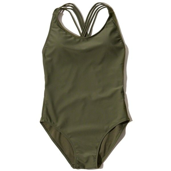 3339a297cc231 Hollister Strappy-Back One-Piece Swimsuit ($9.99) ❤ liked on Polyvore  featuring swimwear, one-piece swimsuits, olive, strappy one …