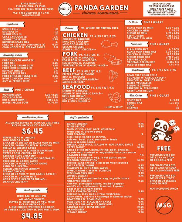 Behance Search Take out menu, Chinese take out
