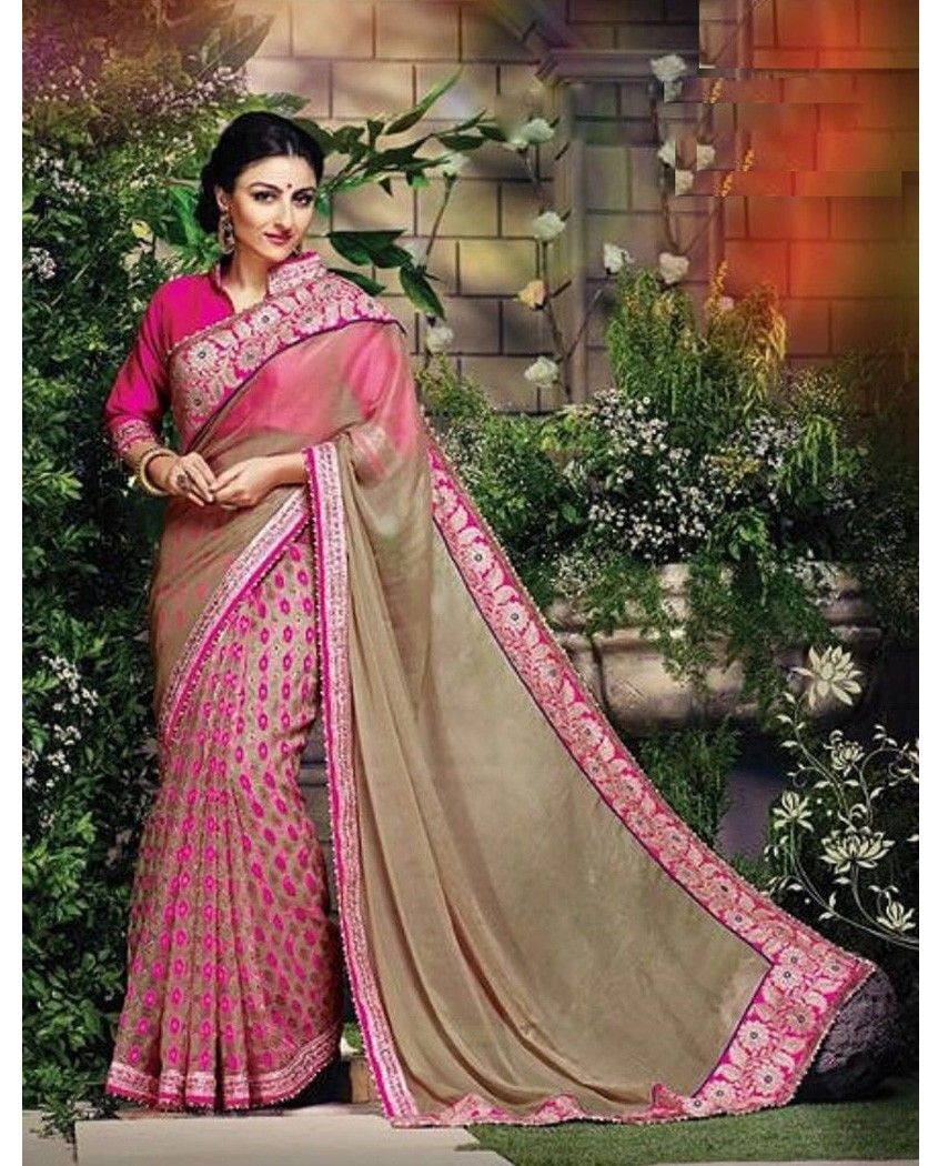 Beautiful pink faux georgette border saree which is