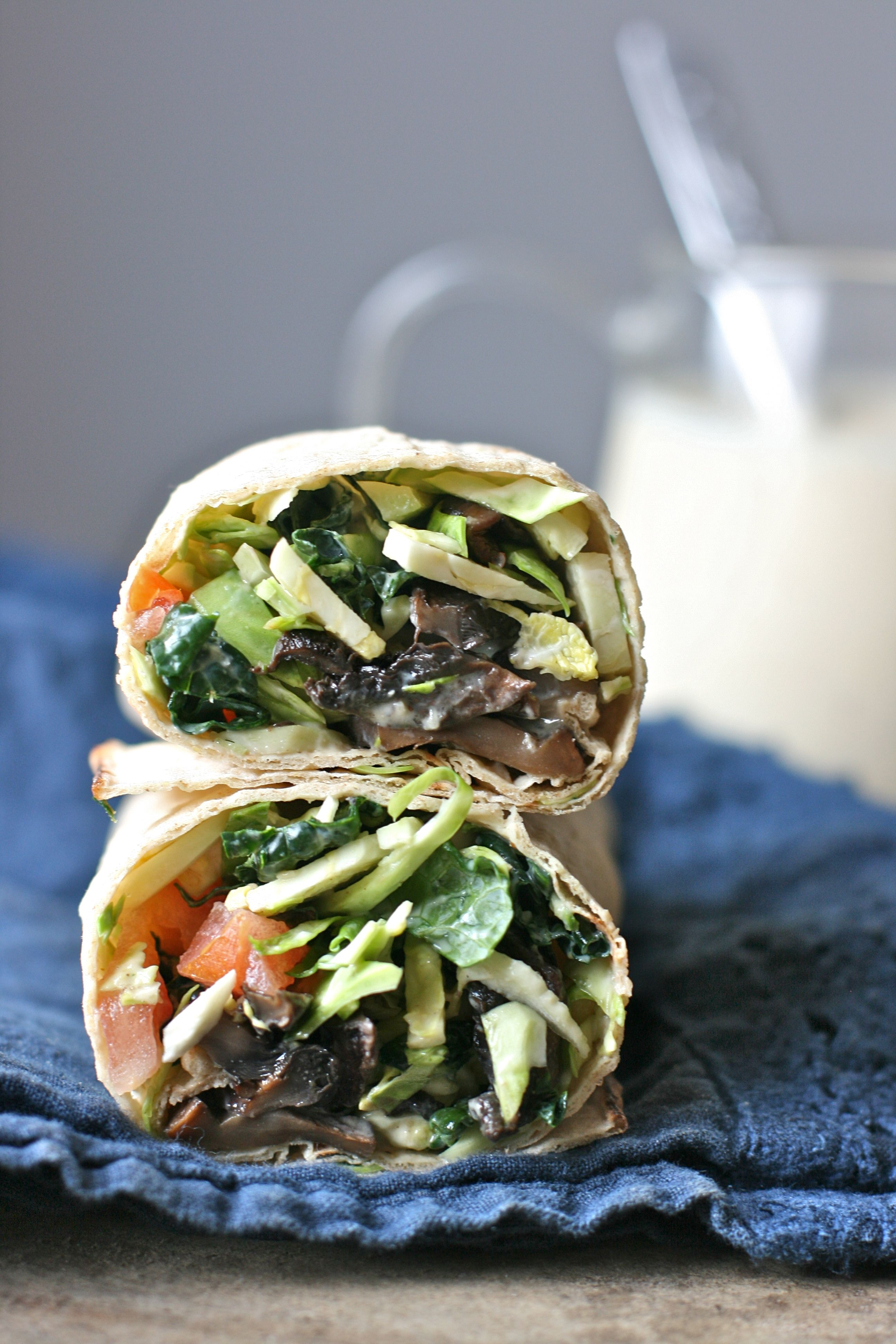 Brussels Sprout Caesar Salad Wraps with Smoky Portobello Bacon