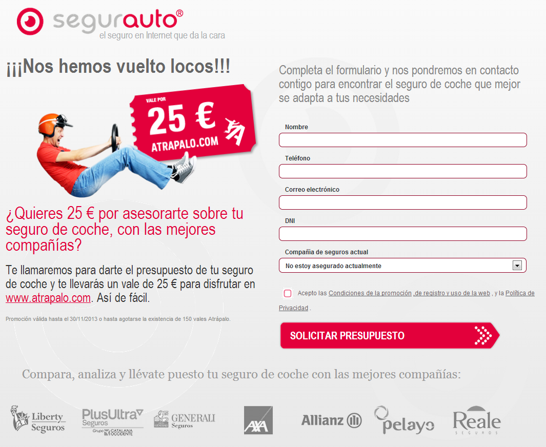 ¡¡NOS HEMOS VUELTO LOCOS!!! En Segurauto te regalamos 25€ para gastártelos en atrapalo.com simplemente por dejarnos tus datos para que te llame uno de nuestros asesores https://www.segurauto.com/seguros-de-automovil/promocion-25-por-presupuesto #coches #automoviles #seguros #promocion #SeguroDeAutomovil