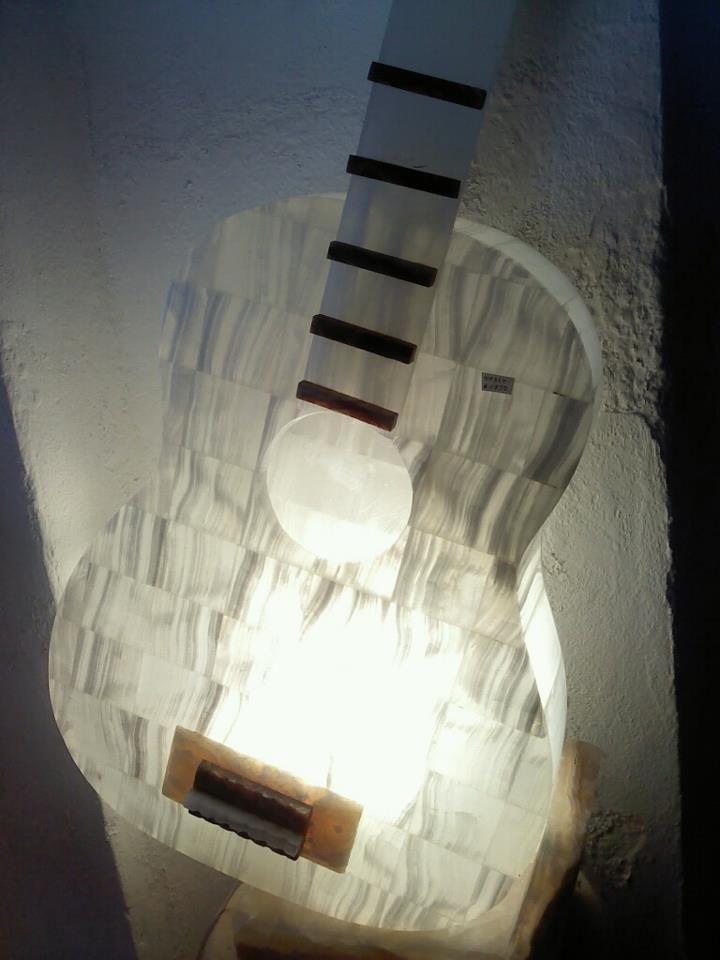 Marble Stone Guitar Made By Mexicans Artisans At Tecalli Puebla Mexico Guitarra De Piedra De Marmol Hecha Por Artesanos Mexicanos En Lamp Home Decor Decor