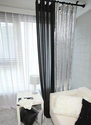 Silver Sequins Beaded Curtain Drapery Panel Room Divider Handmade Made To Order Glitter Bedroom Bedroom Design Diy Bedroom Diy