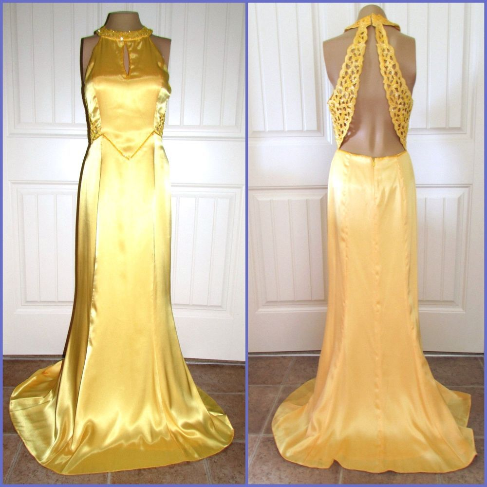 Ladies yellow dress sexy gown precious formals sz holiday party