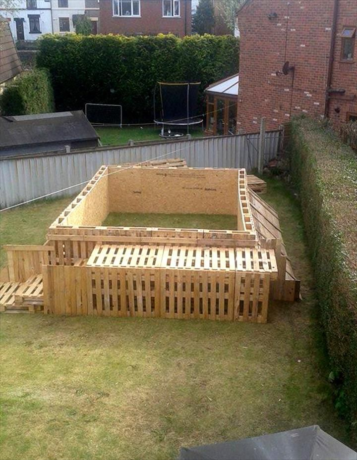 selfinstalled 40 pallet swimming pool Building a