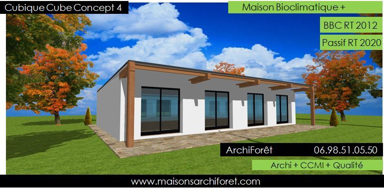 Plan et photo maison plain pied en l ou plein pied en rez for Constructeur maison cubique