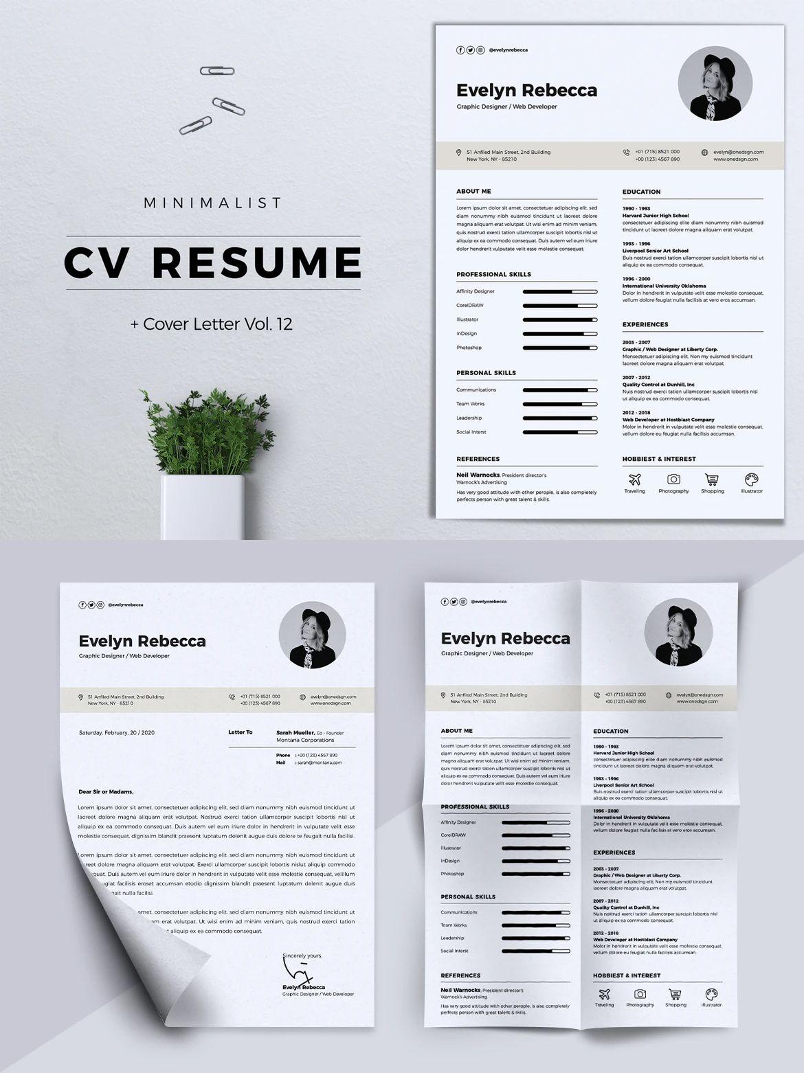 Minimalist CV Resume Template AI, EPS, PSD A4 format