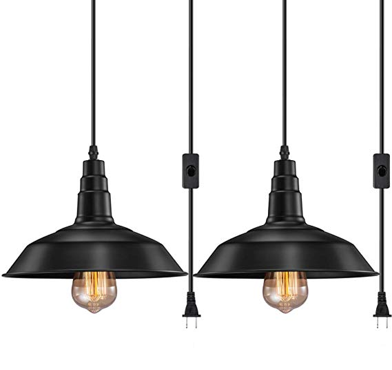 Fadimikoo Plug In Pendant Light E26 E27 Industrial Hanging Pendant Lights Vintage Hanging L Plug In Pendant Light Hanging Light Fixtures Hanging Pendant Lights