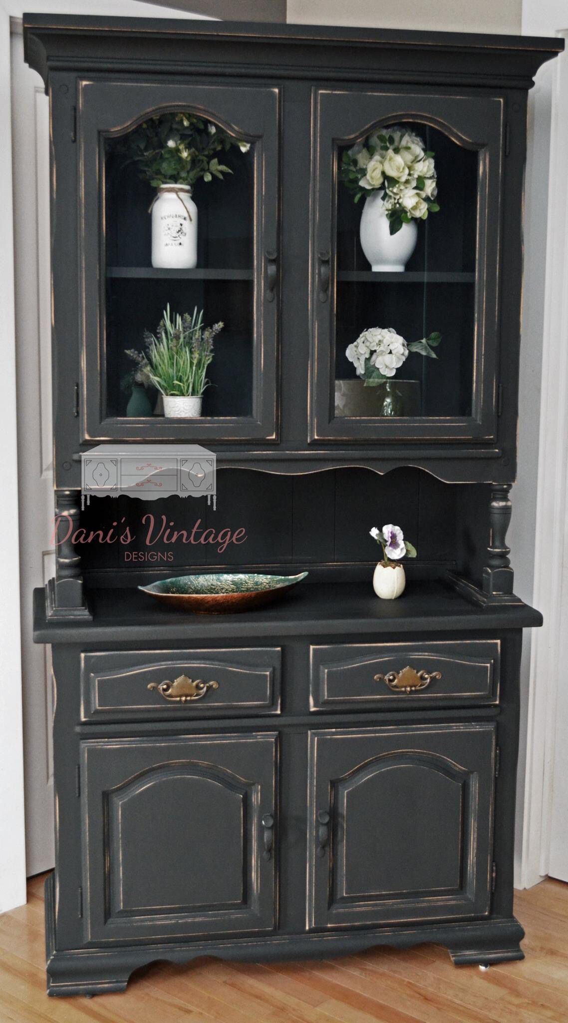Black Distressed China Cabinet Distressed Furniture Black Distressed Furniture Refurbished Furniture