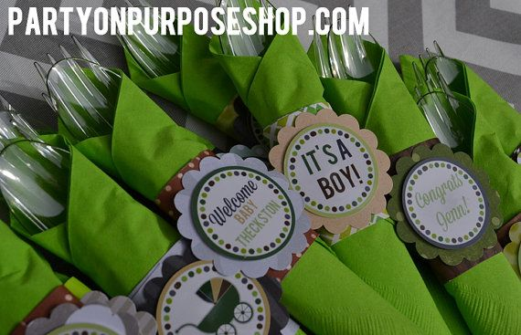 Camouflage Baby Shower Decorations Cutlery By Partyonpurposeshop