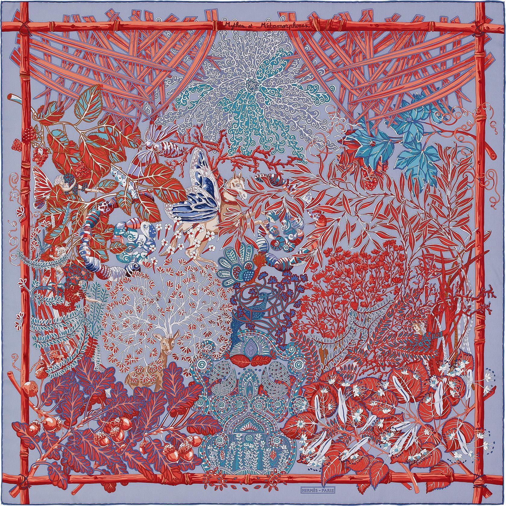 Hermès - Fleurs et Papillons de Tissus by Christine Henry - Gavroche en  twill de soie (45 x 45 cm)   Hermes   Hermes, Silk scarves, Silk adbabedf9d9