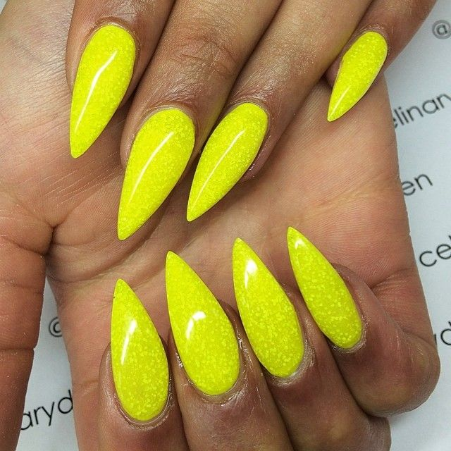 Stiletto Nails Neon Yellow With Yellow Texturized Glitter Nailed