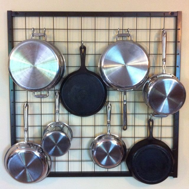Wall Pot Rack I Ve Seen Another Diy With Chain Link And Wood Frame