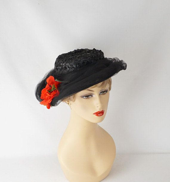 Vintage 1950s Hat Black Straw Asymmetrical Wide Brim with Netting and Red Rose Sz 22