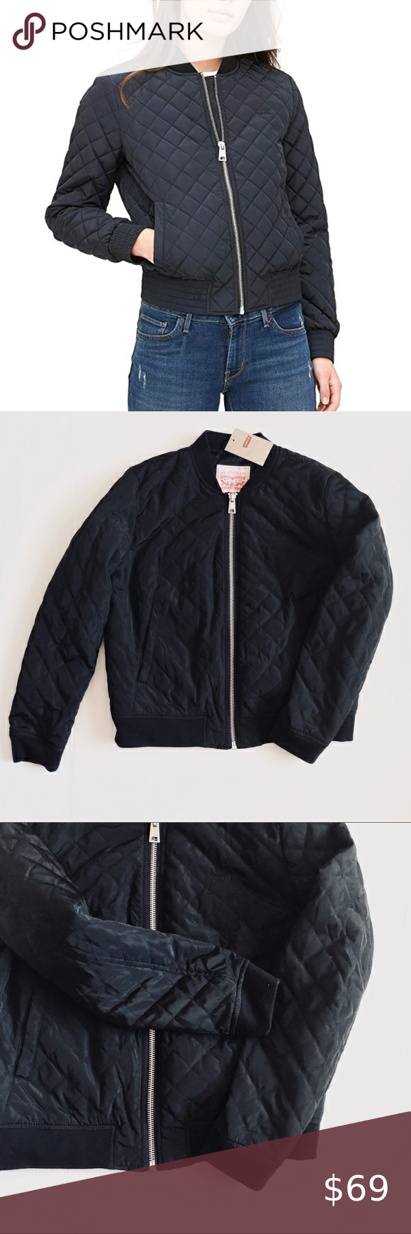 Levi S Diamond Quilted Bomber Jacket Black Large New With Tag Detached Color Black Size Large 100 Quilted Bomber Jacket Black Bomber Jacket Quilted Bomber [ 1740 x 580 Pixel ]