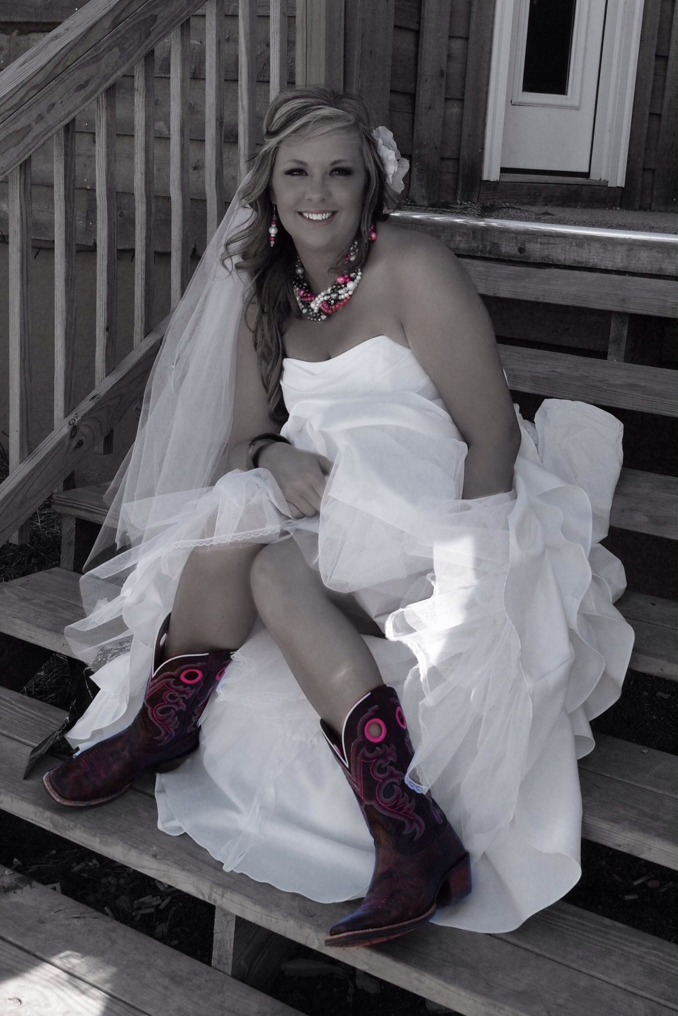 Wedding dress and boots mossy oak camo wedding ariat boots photo by