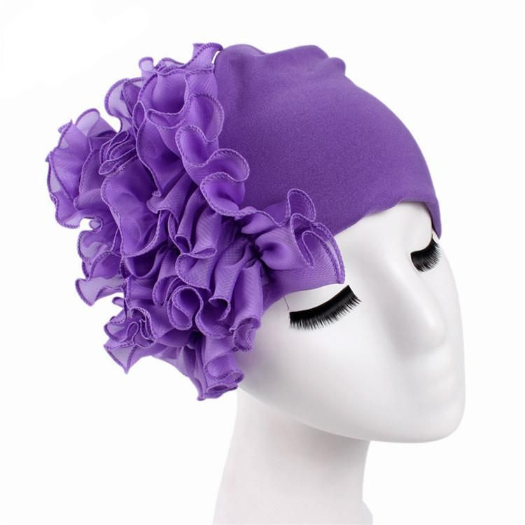 Turban Hair Bands Indian Hat Chiffon Flower Chemo Cap Headwrap Lady Elastic  Headbands Hair Accessories 25cb054541df