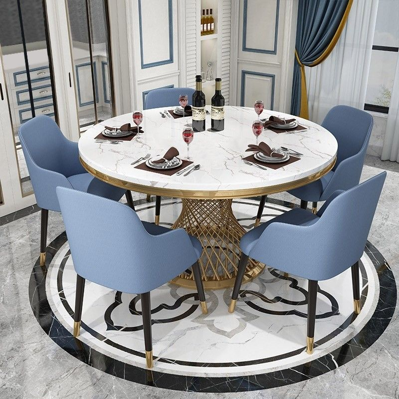 Modern 51 Round Pedestal Dining Table Faux Marble Tabletop