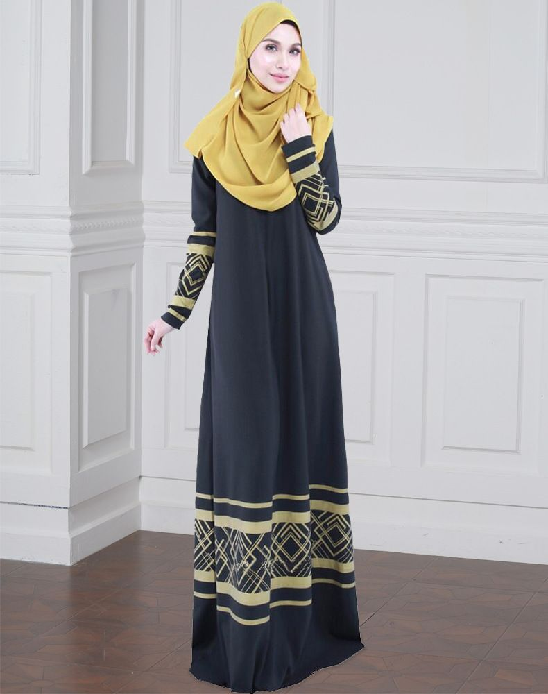 8dda5778181 Fashionable Women Maxi Dresses Elegant Muslim Long Dress Chiffon Full  Sleeve Round Neck Printing Red Navy Blue Black Muslim Long Dress