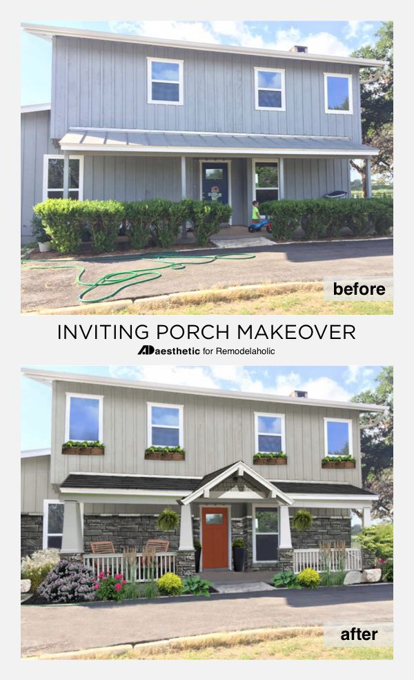 Great Inviting Porch Virtual Makeover U2022 AD Aesthetic For Remodelaholic |  Mid Century Modern | Curb