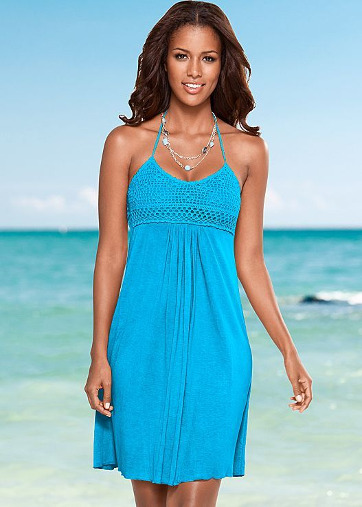 2dc78d6230b Crochet bodice is lined and has smocked back for a comfortable fit. Venus  crochet bust halter dress.