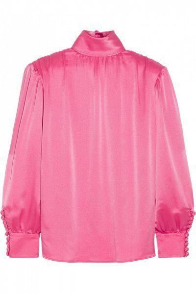 Gucci قميص من الحرير باللون الزهري من Silk Charmeuse Blouse Silk Crepe Satin Blouse