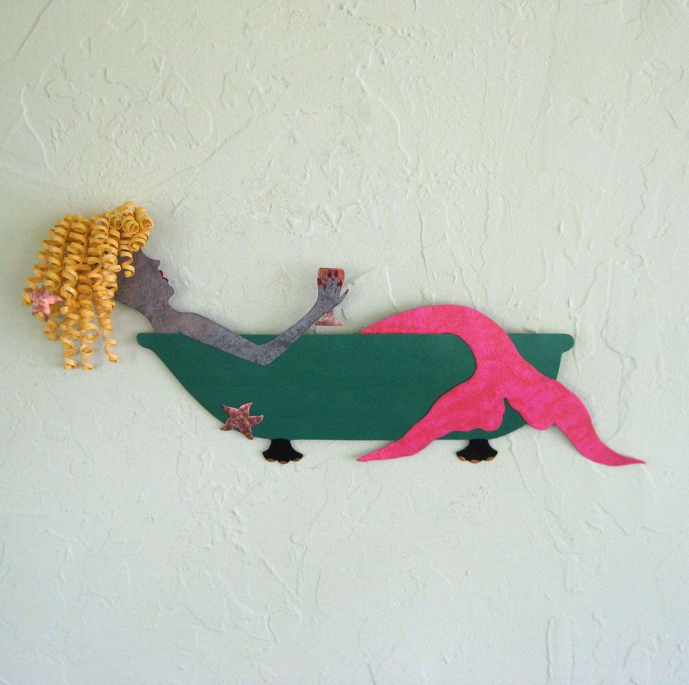 Mermaid wall art decor anna bathtub starfish wine blonde