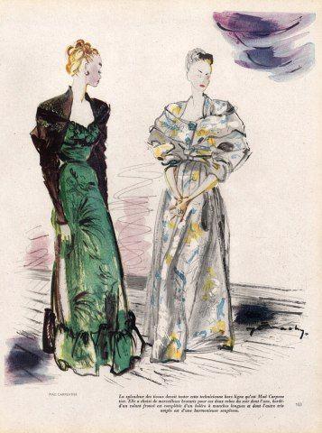 Mad Carpentier 1946 Demachy, Evening Gown, Fashion Illustration