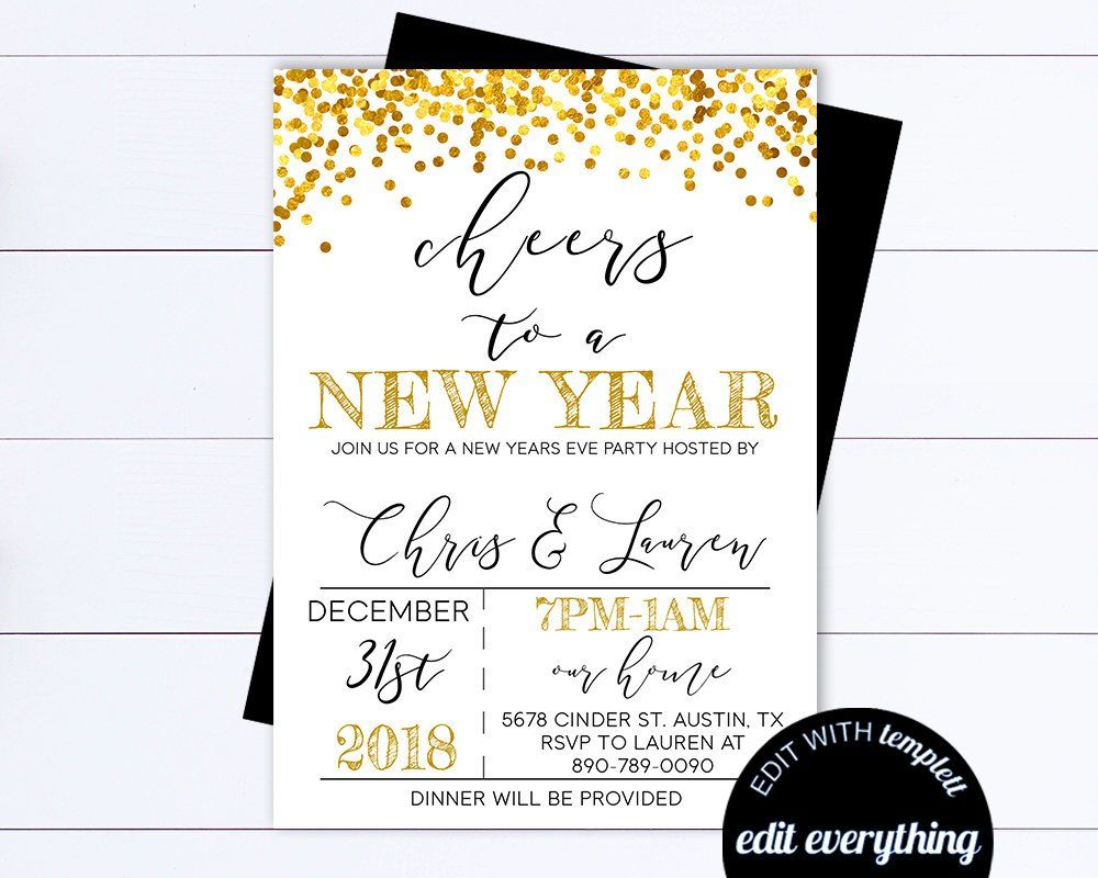 New Years Eve Party Invitation Template Black And Gold Editable Party Invite Cheers To A New Year Party Invite Template New Years Eve Party Happy New Year Gif