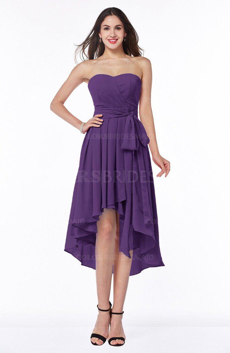 Dark purple plain aline sweetheart sleeveless zip up chiffon plus