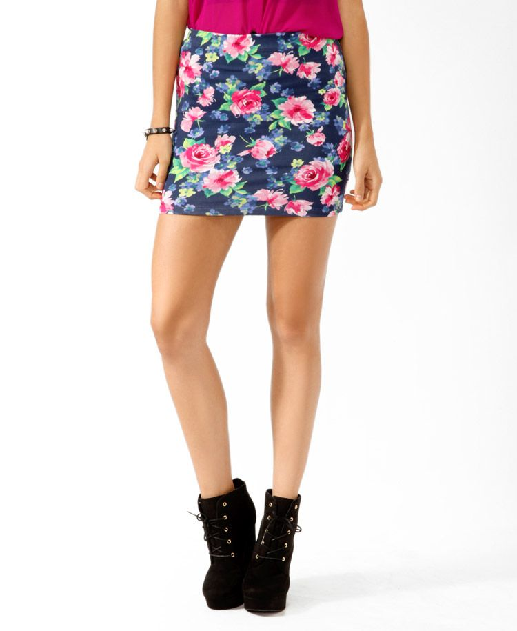 Vibrant Floral Bodycon Skirt   FOREVER21 - 2021839601