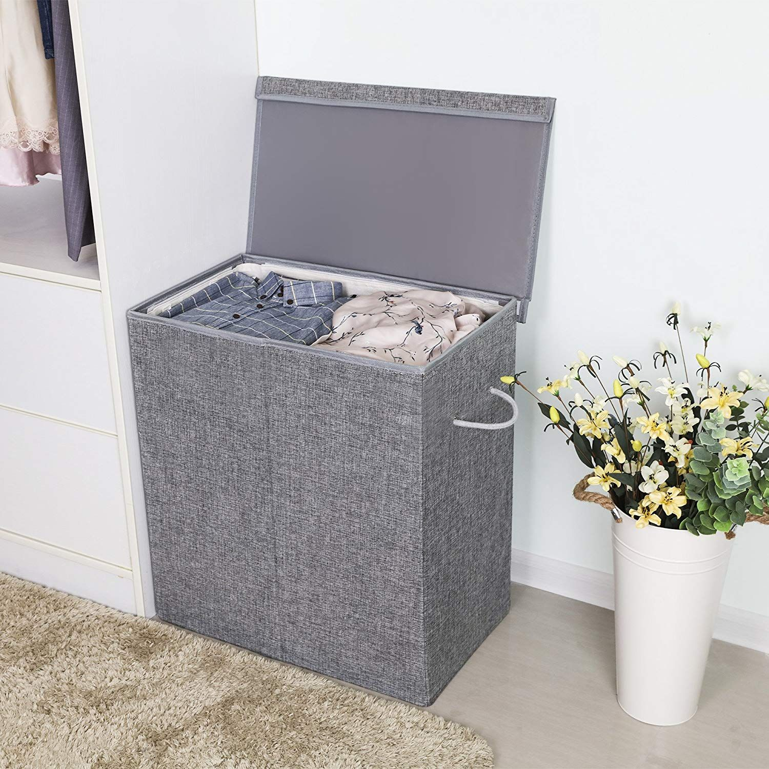 Fabric Double Laundry Hamper With Images Laundry Hamper
