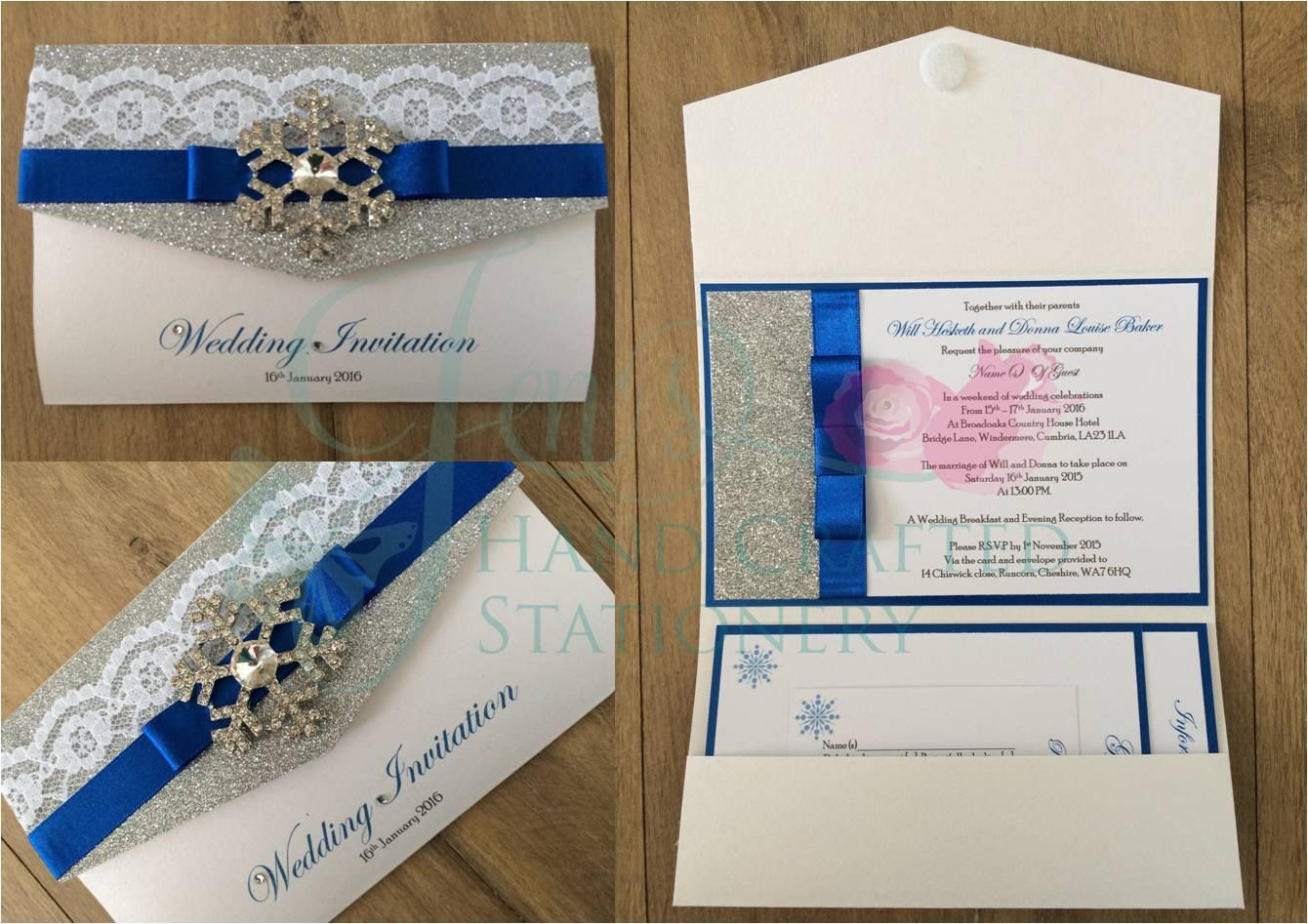 Royal blue and silver glitter pocket fold wedding invitation with ...