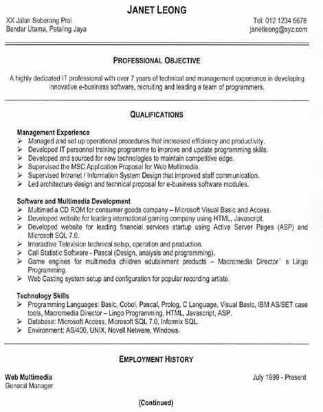 An Effective Chronological Resume Sample -   wwwresumecareer