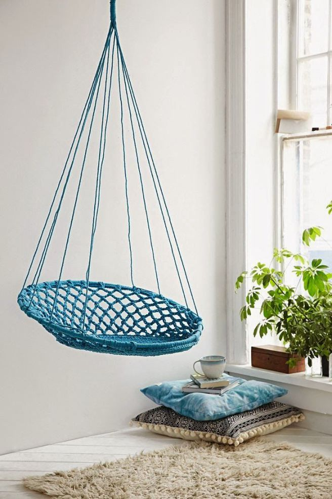 Indoor hammock chair diy special interior design - Hanging hammock chair for bedroom ...